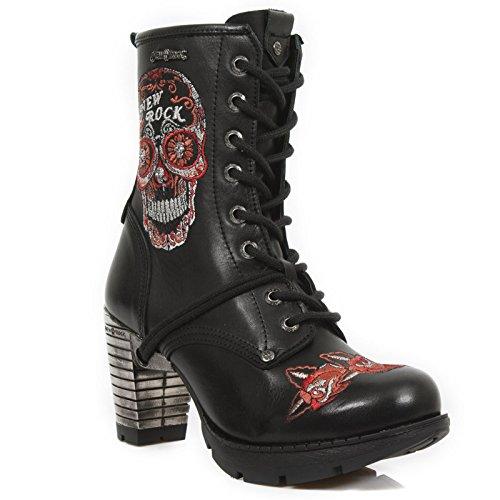 New Rock M Tr048 S3 - Botas mujer negro - Noir (Raw Negro/Bordados Rojos/Trail)
