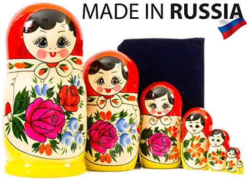 Russian Nesting Doll - Semenovo - Hand Painted in Russia - Traditional Matryoshka Babushka (8``(7 Dolls in 1)) - Hand Painted Russian Nesting