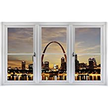 """24"""" Window Scape Instant View STL ST. LOUIS ARCH at DUSK #2 Wall Graphic Sticker Decal Mural Home Kids Game Room Office Art Decor"""