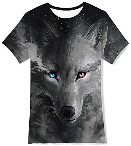 (Black Daily Casual Plain T Shirts Round Neck Cool Wolf Animal Graphic Sports Shirt Fall Autumn Common Outdoor Costume for Boy Youth Teens Student Teenager Child Pupil,10 Years Old)