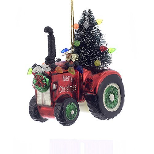 (Kurt Adler 4 Inch Noble Gems Collection Tractor Glass Ornament)