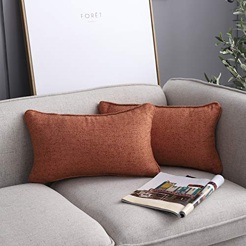 Pack of 2 Decorative Throw Pillow Covers Fotbor Rectangular Soft Soild Polyester Cotton Fabric Cushion Cover Textured Orange Pillow Case for Sofa Bedroom Car Office 12 x 20 Inch 35 x 50 cm