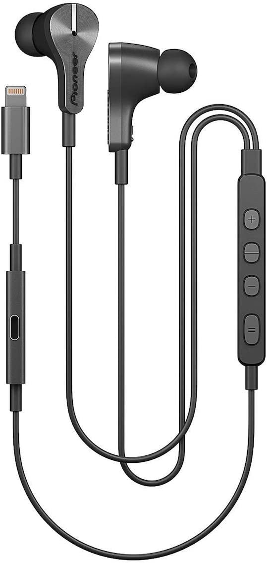 Pioneer Rayz Plus (Graphite) Active Noise Cancelling Wired Earphones with Microphone in ear corded Smart Noise Reduction, Auto-pause, Hands-free, Hey Siri MFI Certified Compatible iPhone, iPad, iPod