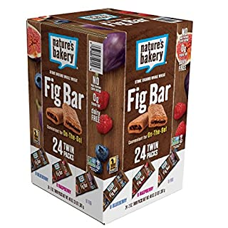 Nature's Bakery Whole Wheat Fig Bars, Variety Pack (8- Blueberry, 8- Original Fig, 8-Raspberry), 1- 24 Count Box of 2 oz Twin Packs (24 Packs), Vegan Snacks, Non-GMO