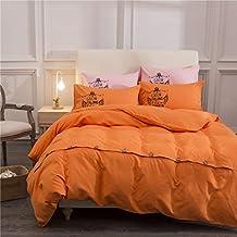 Zhiyuan Button Closure Solid Color Brushed Microfiber Flat Sheet Duvet Cover Pillowcases Set, Queen, Orange