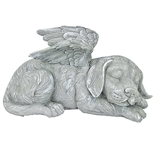 Design Toscano Dog Angel Pet Memorial  Grave Marker Tribute Statue, 10 Inch, Polyresin, Stone Finish