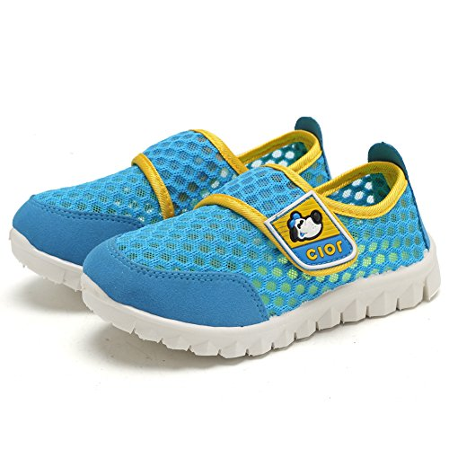 CIOR Kid's Mesh Lightweight Sneakers Baby Breathable Slip-on For Boy and Girl's Running Beach Shoes(Toddler/Little Kid),Blue01,29 3