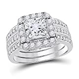Allyanna Gifts 925 Sterling Silver 2 ct CZ Square-cut Stackable Wedding Engagement Ring Size 5-10 (9)