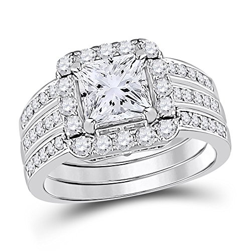 Allyanna Gifts 925 Sterling Silver 2 ct CZ Square-cut Stackable Wedding Engagement Ring Size 5-10 (9) by Allyanna Gifts