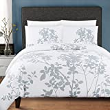 3 Piece Winter Woods Leaf Patterned Duvet Cover Set King Size, Icy Cold Vibrant Garden Forest Tiny Leafs Print Bedding, Stylish Modern Nature Lovers Design, Classic Luxury Artwork Style, White, Grey