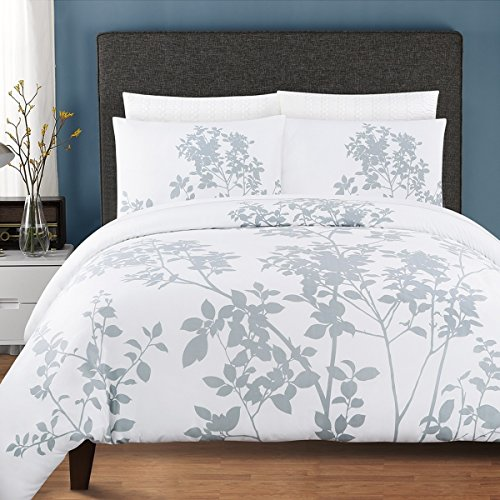 3 Piece Winter Woods Leaf Patterned Duvet Cover Set King Size, Icy Cold Vibrant Garden Forest Tiny Leafs Print Bedding, Stylish Modern Nature Lovers Design, Classic Luxury Artwork Style, White, Grey by SE