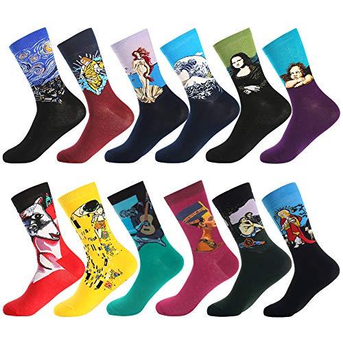 Dress Socks for Men & Women,Colorful Funny Crazy Novelty Fun Dress Socks Pack, Bonangel Cool Pattern Crew Socks Gift for Men -