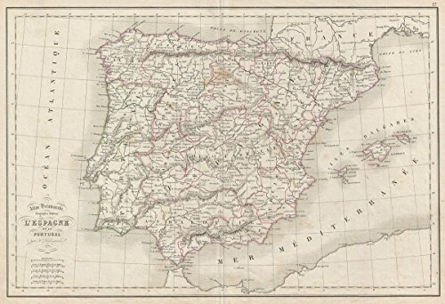 Historic Map | Delamarche Map of Spain and Portugal, 1850 | Historical Antique Vintage Decor Poster Wall Art | 24in x 36in
