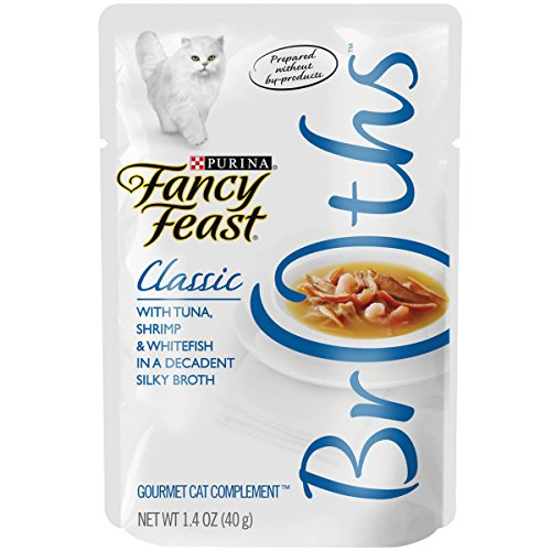 Purina Fancy Feast Broth Wet Cat Food Complement; Broths With Tuna, Shrimp & Whitefish - 1.4 oz....