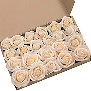 Ling's moment Artificial Flowers 2 inch Cream Artificial Roses and Rose Buds Pack of 24 for DIY Wedding Bouquet Boutonniere Corsage Floral Decor 87