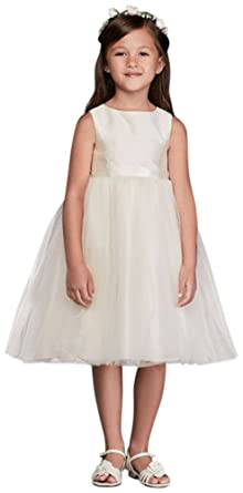 09a4b0432f90 Flower Girl/Communion Dress with Tulle and Ribbon Waist Style OP218, Ivory,  2T