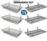 Only Garment Racks Garage Organizer Value Pack with 3 Shelves and 3 Steel Baskets, Designed for Slatwall, Gridwall or Pegboard