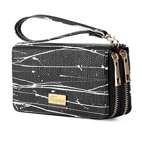 Kamo Wallet for Women Zip Around Phone Wallet Clutch Wristlet Travel Long Purse for Women Lady Girl 6.9×3.5(Double Zipper)