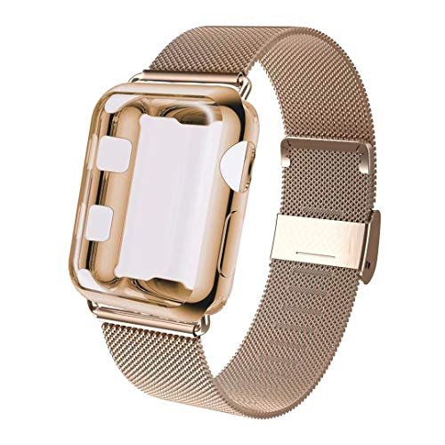 GBPOOT Compatible for Apple Watch Band 38mm 40mm 42mm 44mm with Screen Protector Case, Sports Wristband Strap Replacement Band with Protective Case for Iwatch Series 4/3/2/1,38mm,Gold