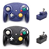 Poulep 2 Packs Classic 2.4G Wireless Controller Upgraded Gamepad with Receiver Adapter for Nintendo Wii U Gamecube NGC GC (Black and Purple): more info