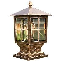 HSCW Estilo chino de aluminio E27 exterior Faros columna impermeable y a prueba de herrumbre de jardín Iluminación de…