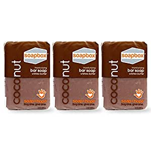SoapBox Soaps Shea Butter Bar Soap, Coconut Oil with Exfoliating Sea Salt and Nourishing Olive Oil - 8 Ounce (Pack of 3)