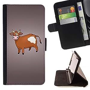 Momo Phone Case / Flip Funda de Cuero Case Cover - Vaca de Brown Agricultura Animal Derechos Dibujo - Samsung Galaxy J1 J100