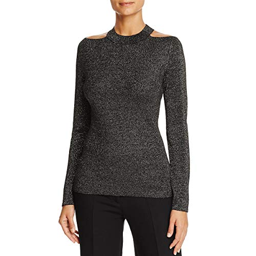 (T Tahari Women's Sparkle Talulla Sweater, Black/Gold, S )