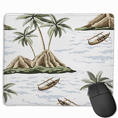 Alfombrilla para raton con borde cosido duradero, base de goma antideslizante para teclado, para oficina, diseno de palmeras hawaianas, palmeras, arboles, barcos, verano, sin costuras, dise