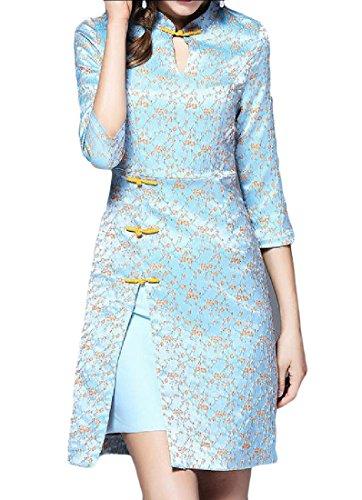 Confortables Floral Fendu Manches 3/4 Des Femmes Robe Traditionnelle Cheongsam Comme Image