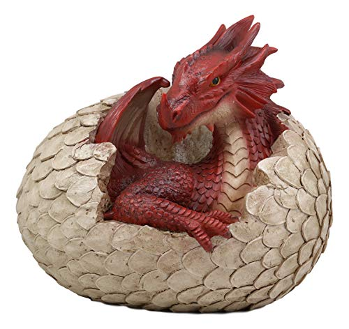 Ebros Large Smaug Red Baby Dragon Hatchling in Egg Statue 9.5