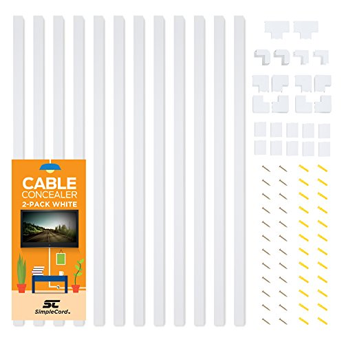 Installation Mount Concealed Surface - Cable Concealer On-Wall Cord Cover Raceway Kit - 12 White Cable Covers - Cable Management System to Hide Cables, Cords, or Wires - Organize Cables to TVs and Computers at Home or in The Office