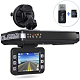 Aisino Radar Speed Detector and Car Dash Camera Driving Recorder 2 in 1 with 2.0'' LCD Screen/Mute button/G-Sensor/Loop Recording/16GB TF Card/Card Reader