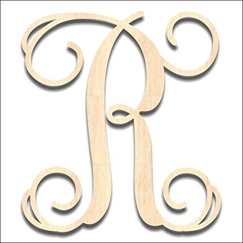 Back40Life | Precision Cut Vine Wood Monogram Letter - 13-inch Unfinished R