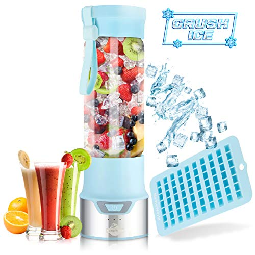 ICER Portable Blender for Shakes and Smoothies – Blend Ice Easy with Powerful 12V Jet Motor – Personal, Single Serve Bottle – Fruit Juicer with 6000 mAh USB Rechargeable Battery – BPA Free 450ml Blue