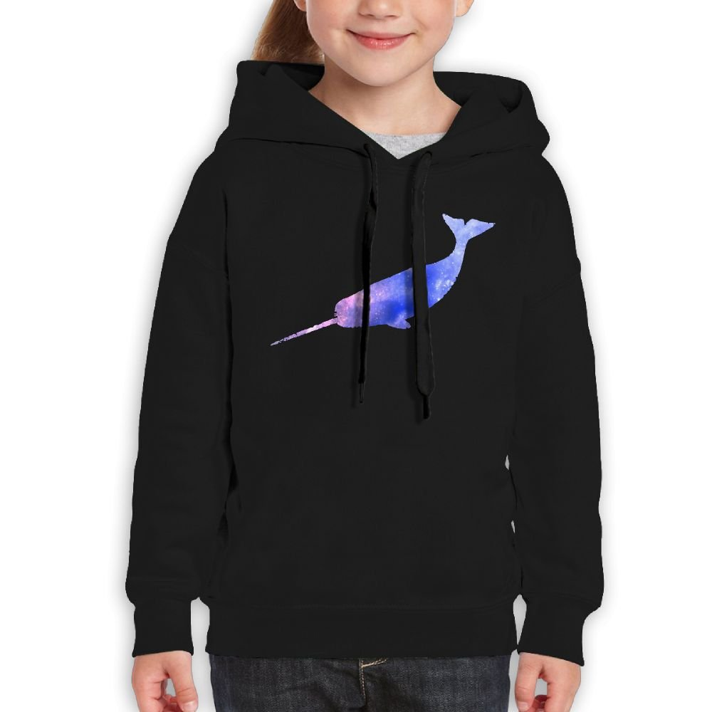 Ijalo Vintage Galaxy Narwhal Hoodie Youth Pullover Hooded Sweatshirt M