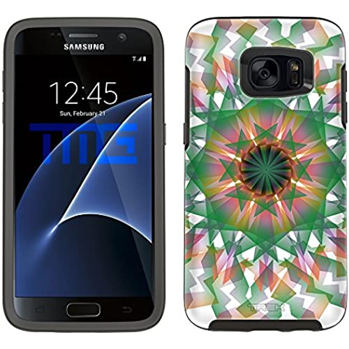 Skin Decal for Otterbox Symmetry Samsung Galaxy S7 Edge Case - Mandala Geometric Green Orange Pink on White Sales