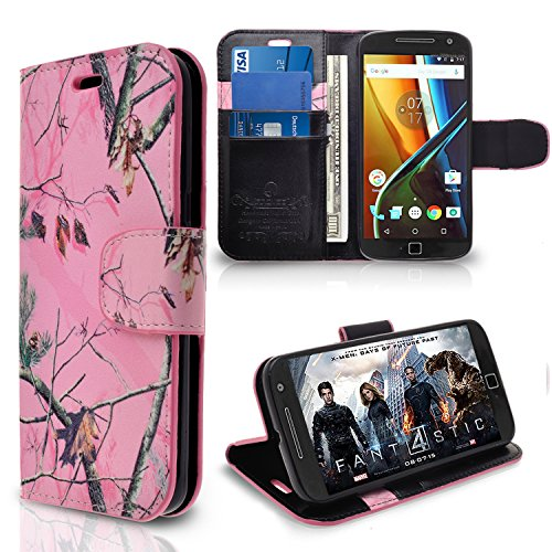 Motorola Moto G4 / G4 Plus / XT1644 Case, INNOVAA Premium Leather Wallet Case (Not Compatible with Motorola Moto G4 Play) With STAND Flip Cover W/ Free Screen Protector & Stylus Pen - Pink Camo (Lg Flip Phone Cases Camo)