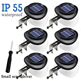 Outdoor Solar Fence Lights,LED Solar Gutter Lights,IP55 Waterproof Wall light deck light Security Night Light with screwdriver for Eave,Garden,Wall,Attic,Walkway,Driveway,Deck,Stair(6 PCS,Warm White)