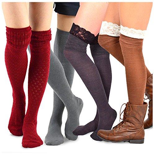 Gorgeous Women Knee High Socks - TeeHee Women's Fashion Over the Knee High Socks - 4 Pair Combo (Lace Over)