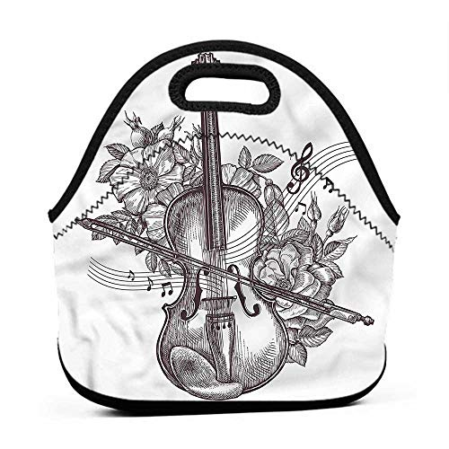 (Convenient Lunch Box Tote Bag Violin,Fiddle Playing Music Flowers,for u designs lunch bag)