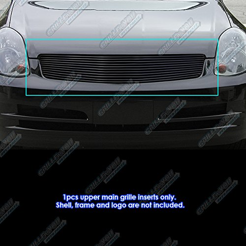 (APS Compatible with 2003-2004 Infiniti G35 Sedan Black Billet Grille Grill Inserts S18-H00658N)