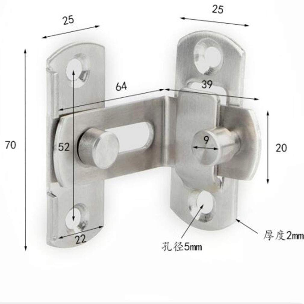Pinhan Boucles de loquet de Porte /à Angle Droit 90 degr/és Boulons de loquet incurv/és Boulons /à Levier coulissants pour Portes et fen/êtres 3 Pouces