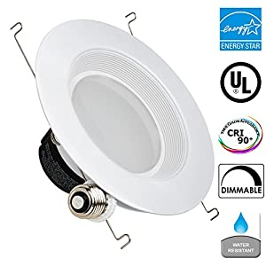 "13Watt 5/6""-Inch ENERGY STAR UL-Listed Dimmable Baffle LED Recessed Lighting Light Retrofit Kit Fixture Downlight ... (5000K - Daylight, 1 Pack)"