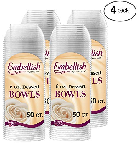 Embellish Hard Plastic 6 Ounce Clear Bowls 50 Count Pack Of 4