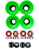 Everland Skateboard Wheels 60x44mm w/ Bearings & Spacers (Green)