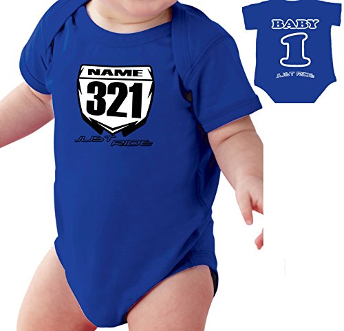 Number Infant Creeper (Motocross Baby Number Plate One Piece Creeper Personalized Yamaha YZ Blue (12 MONTH))