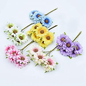 Tokyo Summer 6Pcs Silk Sunflower Bouquet Decorative Christmas Wreaths DIY Gifts Candy Box Fake Plants Artificial Daisy Flowers for Home Decor,Yellow 3