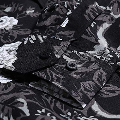 Whj Mens Dark Shredded Cotton Blended Shirt Skinny Three-Cut Casual Shirt Lightweight Breathable Comfortable Cufflinks Shirt