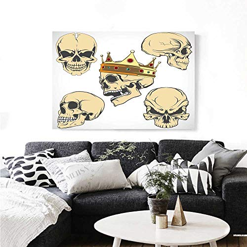 Warm Family Skull Canvas Wall Art for Bedroom Home Decorations Skulls Different Expressions Evil Face Crowned Death Monster Halloween Print Wall Stickers 28
